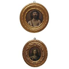 Small Oil on Copper Christian Paintings with Jesus Christ and the Virgin Mary
