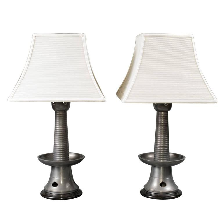 Pair of Japanese Pewter Lamps