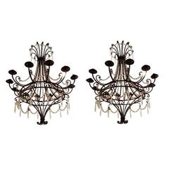 Pair of Vintage Iron and Crystal Chandeliers