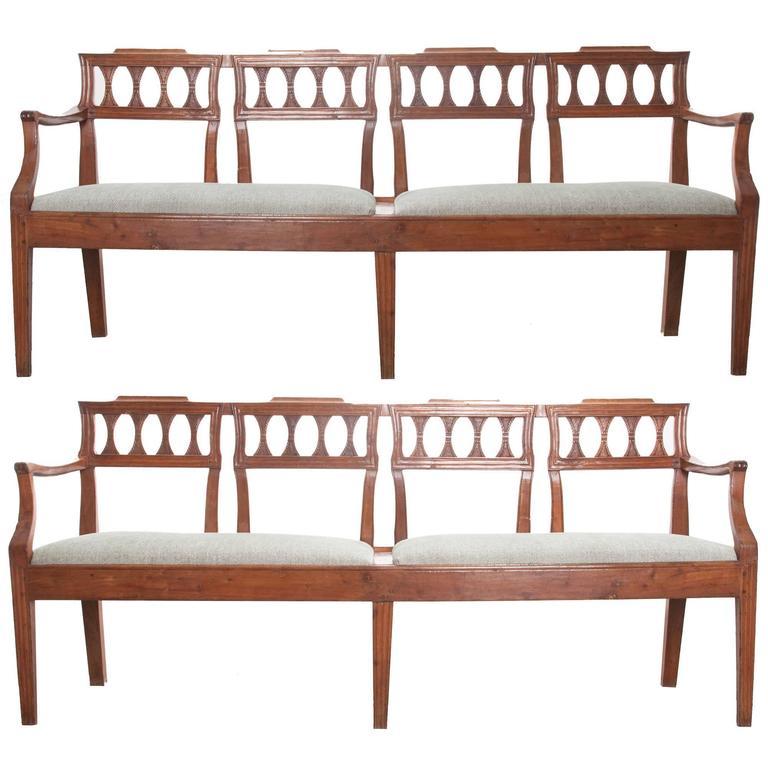 Pair of Italian 19th Century Fruitwood Benches
