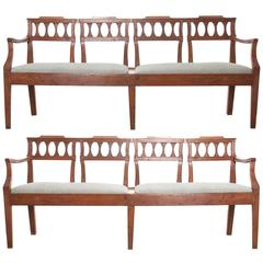 Pair of Italian 19th Century Fruitwood Benches