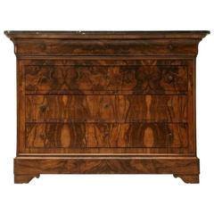 French Bookmatched Burled Walnut Commode, circa 1880