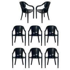 Set of Eight Black Lacquered Oak Dining Chairs by Ward Bennett