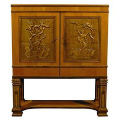 Swedish Art Deco Neoclassical Carved Armoire Cabinet
