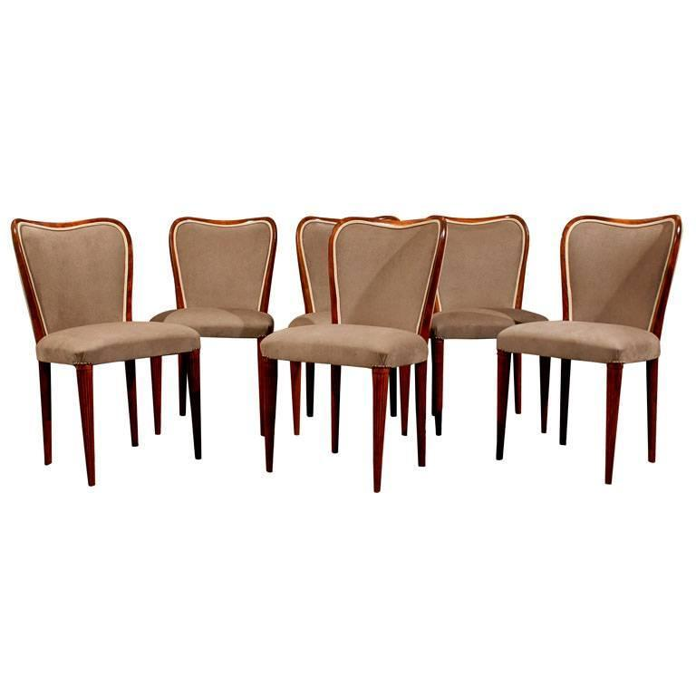 Set of six newly upholstered swedish art moderne dining for Upholstered dining chairs for sale