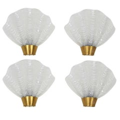 Set of Four French Art Deco Sconces with Elegant Shell Design