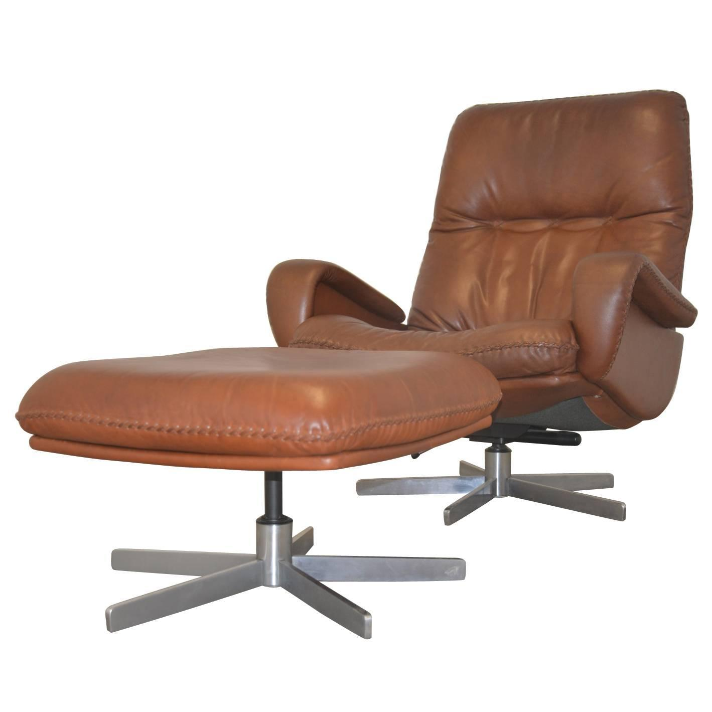 Vintage leather swivel chair - Vintage De Sede S 231 James Bond Swivel Armchair With Ottoman 1960s For Sale At 1stdibs