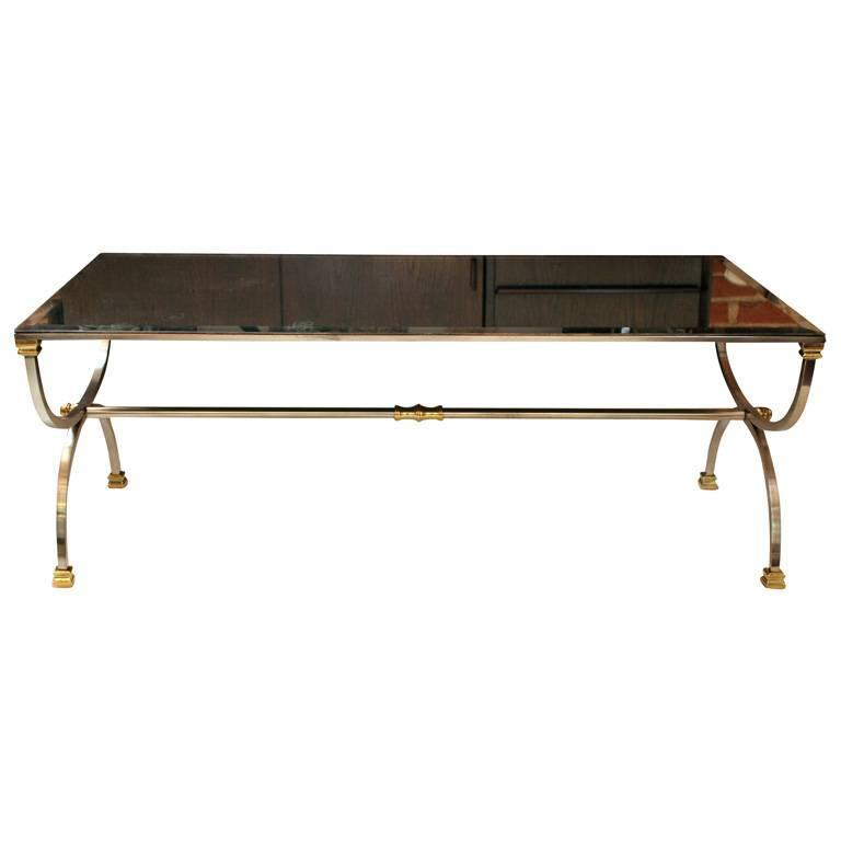 Maison Jansen Style Mirrored Steel and Brass Coffee Table For Sale