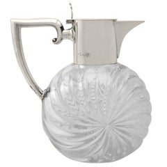 Cut Glass and Sterling Silver Mounted Claret Jug, Antique Victorian