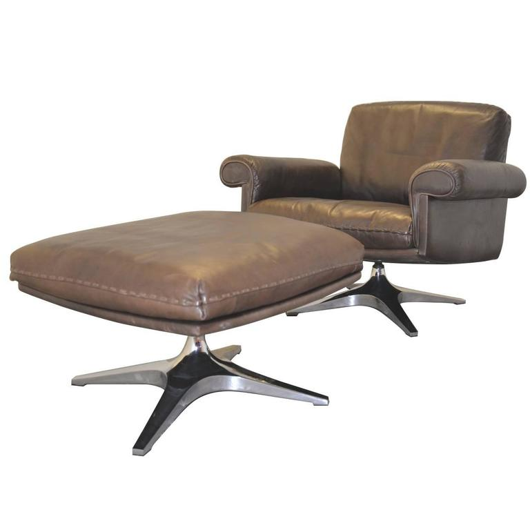 Vintage de sede ds 31 swivel lounge club armchair and for Small armchair with ottoman