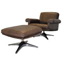 Vintage De Sede DS 31 Swivel Lounge Armchair and Ottoman 1970s