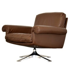 Vintage De Sede DS 31 Leather Swivel Lounge Armchair, Switzerland 1970s