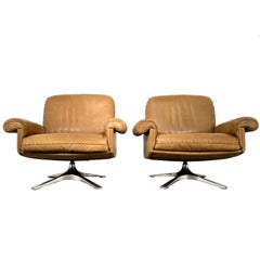 Vintage De Sede DS 31 Swivel Lounge Armchairs 1970s