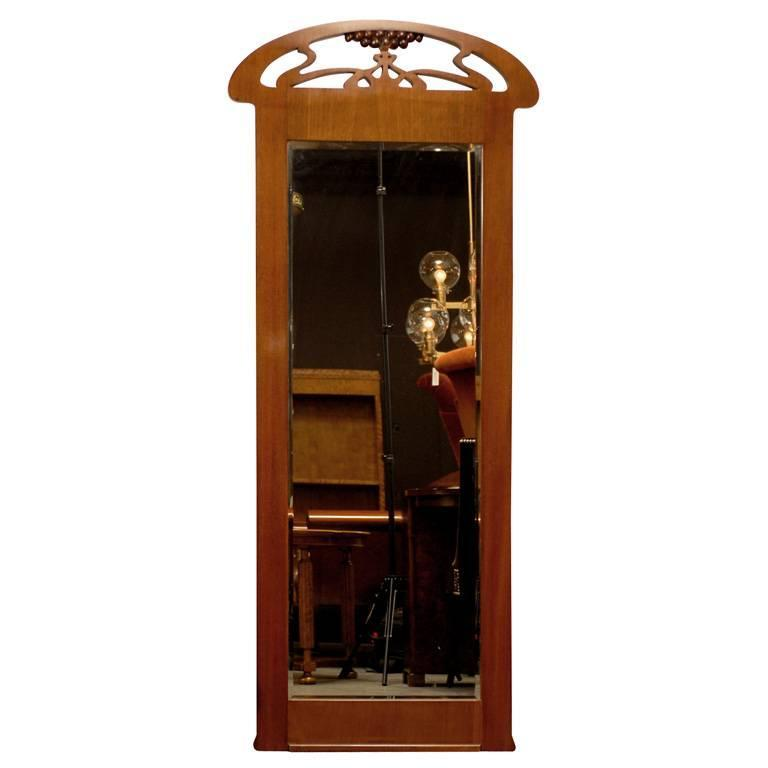 Swedish Jugend Art Nouveau Mahogany Pier Mirror