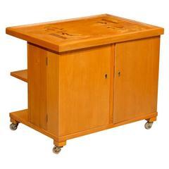 Swedish Art Deco Intarsia Bar Cabinet Bookcase End Table