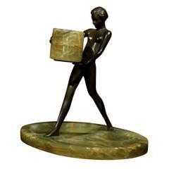 Swedish Art Deco Female Nude Bronze Sculpture on Onyx Base