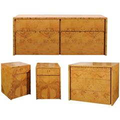Milo Baughman Style Burl Wood Suite