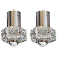 Kinkeldey Pair of Small Crystal Hanging Fixture, Germany