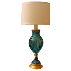 Tall Blue and Clear Murano Glass Lamp with Wood Base