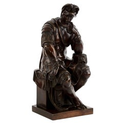 """Lorenzo De Medici"" Antique Bronze Sculpture after Michelangelo, 19th Century"