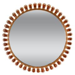 Italian 1950s Scalloped Amber Glass Framed Circular Sunburst Mirror