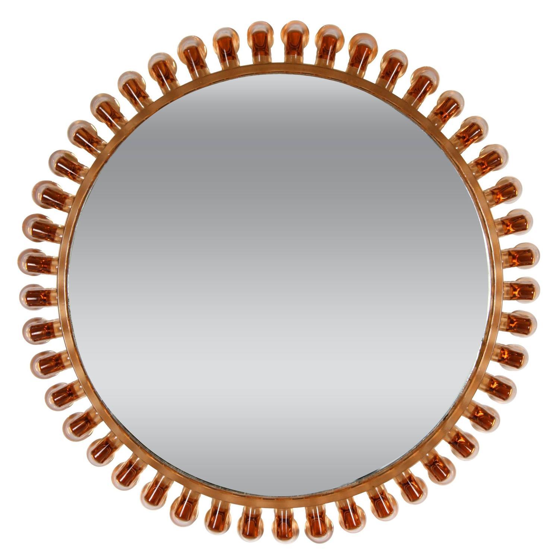 Italian 1950s Scalloped Amber Glass Framed Circular Sunburst Mirror ...