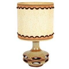 1960s German Stein Keramik Fat Lava Table Lamp with Original Shade