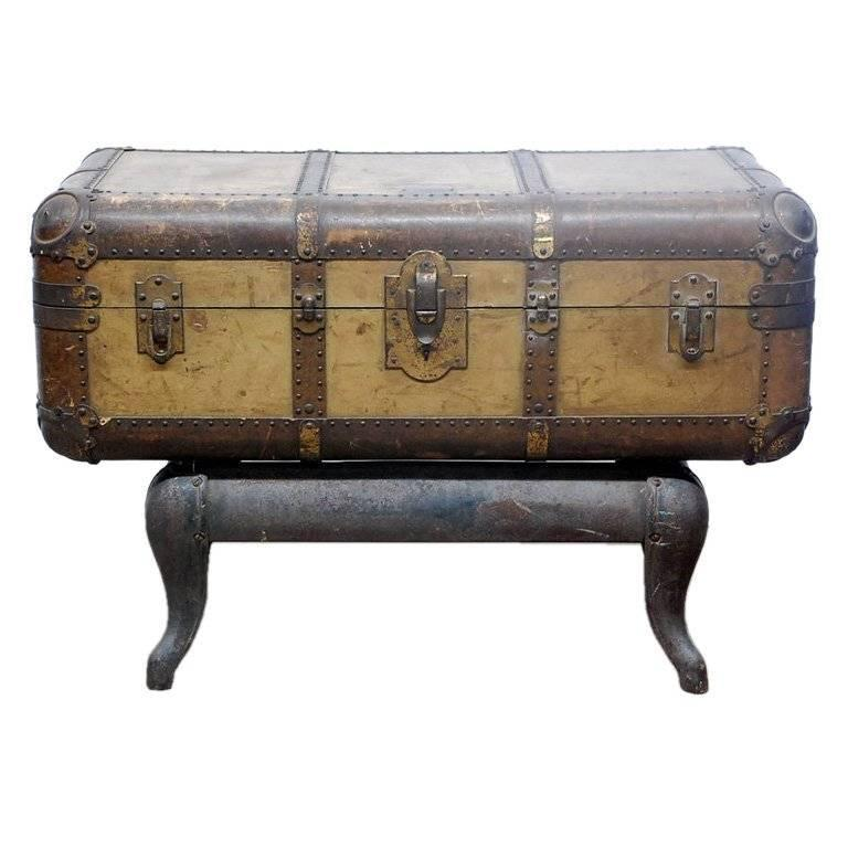 Vintage Indestructo Trunk on Industrial Stand