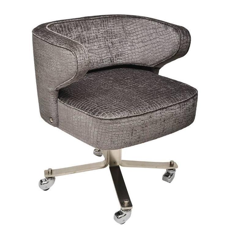 Chrome Upholstered Rolling Desk Chair For