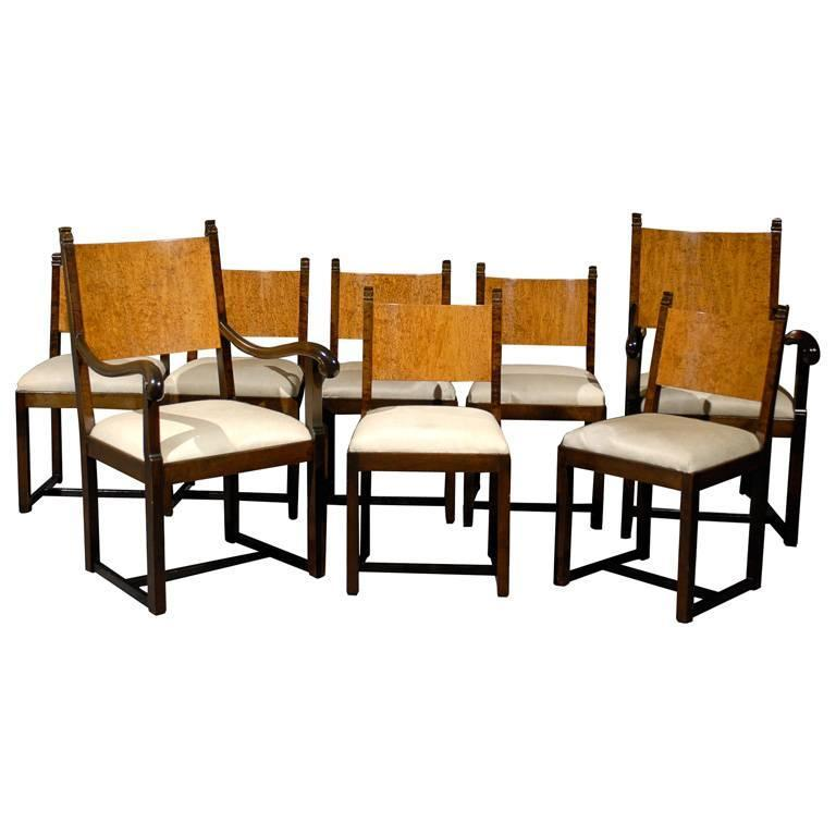 Set of Eight Art Deco Dining Chairs Attributed to Eliel Saarinen For Sale