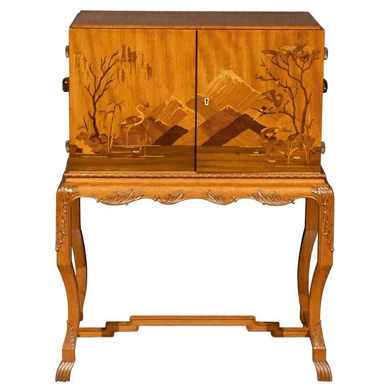 Swedish Art Deco Intarsia Bar Cabinet 1 - Swedish Art Deco Intarsia Bar Cabinet For Sale At 1stdibs
