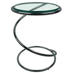 Chrome and Glass Spiral Side Table