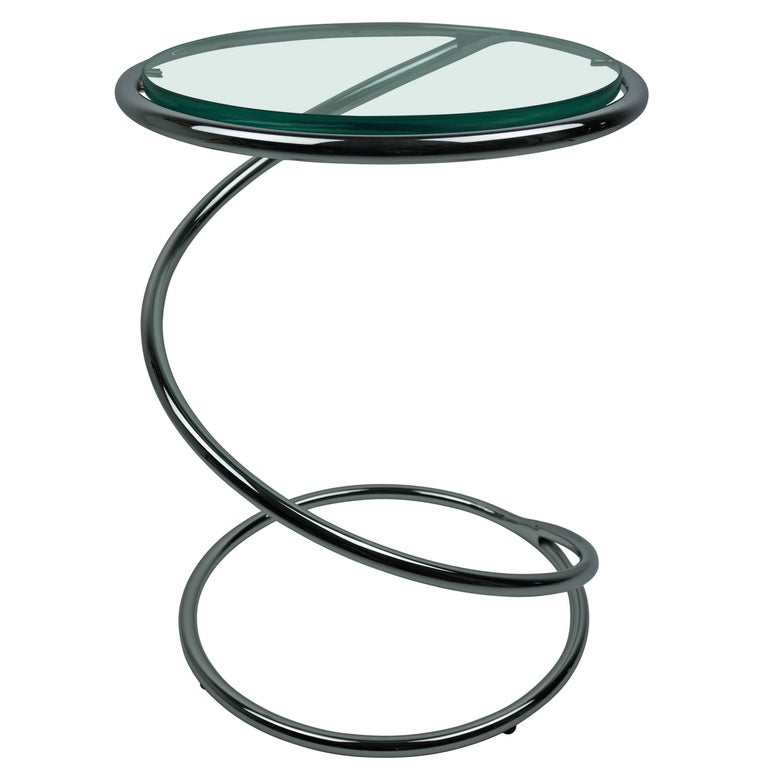 Chrome and Glass Spiral Side Table For Sale