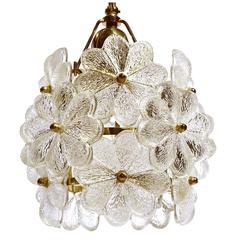 Palwa Glass Flower Pendant Light Brass Ceiling Lamp Floral Modernist 1960