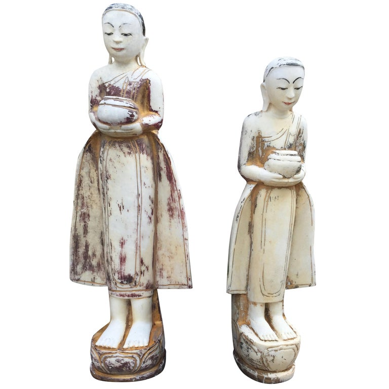 Two Offering Attendants from Old Mandalay Burma Early 20th Century