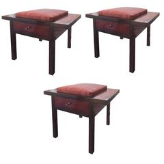 Holly Hunt African Mahogany Upholstered Storage Stool