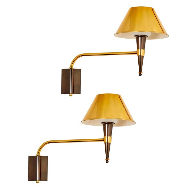 Pair of French 1950s Swing Arm Sconces