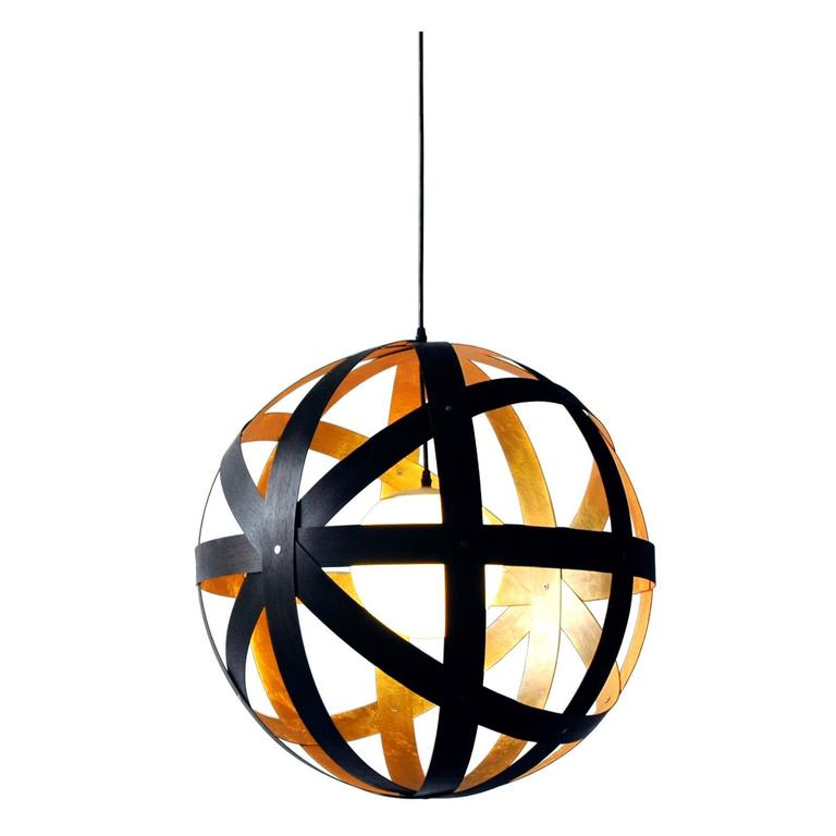 Meridian 24 Black Stained Walnut and Gold Leaf Pendant For Sale