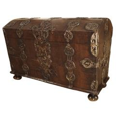 Antique German Baroque Trunk with Iron Strapping