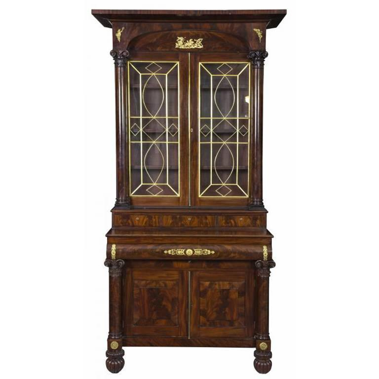 Monumental Classical Mahogany Bookcase Probably Meeks, NY, circa 1830