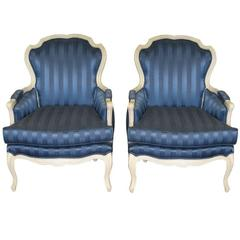 Maison Jansen Blue Lounge Chairs