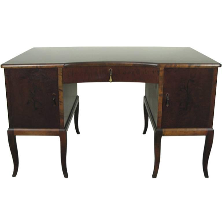 Swedish Art Deco Neoclassical Inlaid Writing Desk