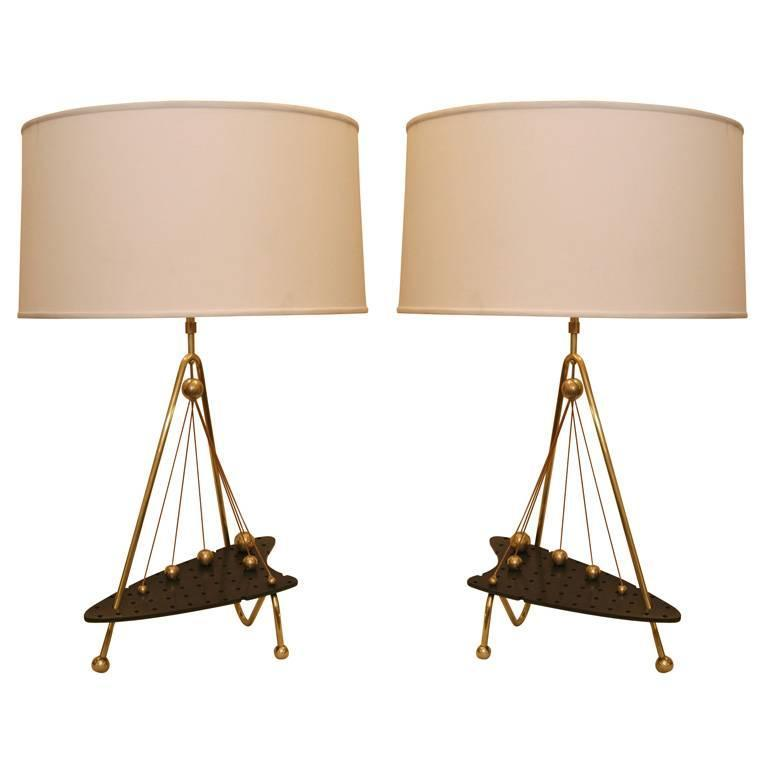 Pair of 1950s Sculptural Table Lamps