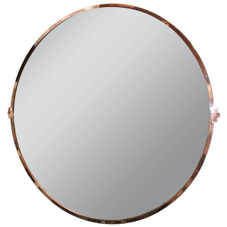 Large Custom Round Copper Mirror For Sale
