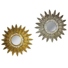 Spanish 1950s Set of Two Gilt Iron and Silver Sunburst Mirrors