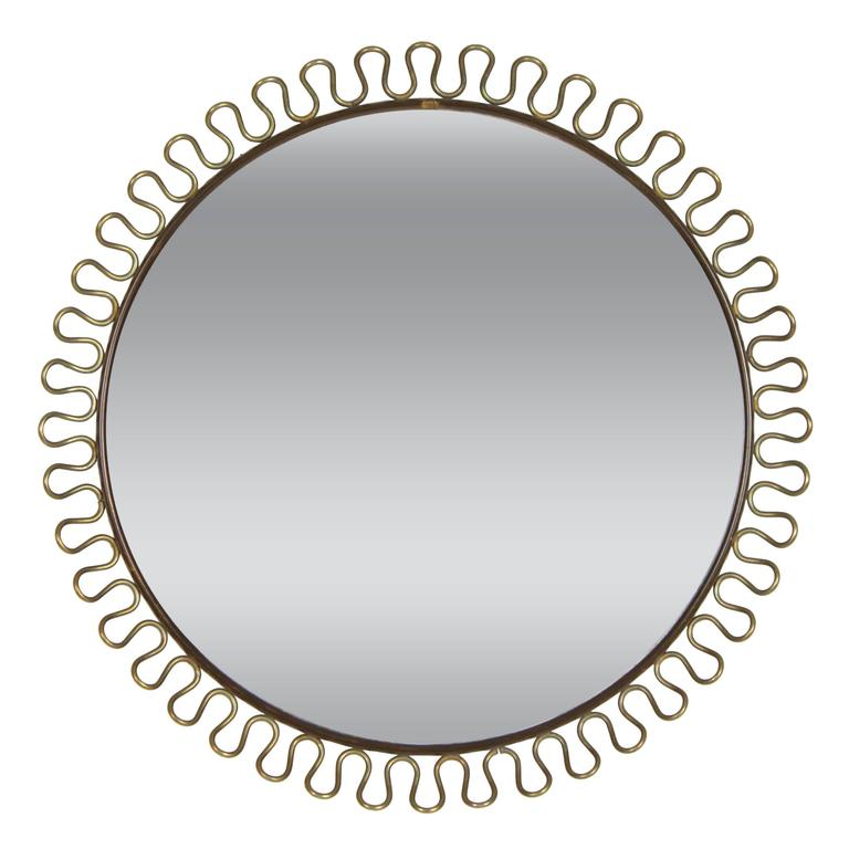 Swedish 1950s Circular Brass Loop Mirror by Josef Frank for Svenskt Tenn