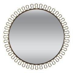 Swedish 1950s Circular Brass Loop Mirror by Josef Frank for Svenskt Tenn