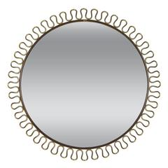 Circular Brass Loop Mirror by Josef Frank, c.1950