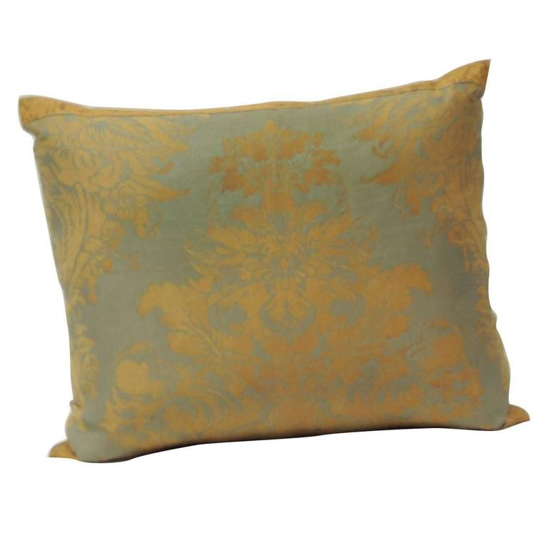 Vintage Decorative Throw Pillows : Fortuny Vintage Decorative Pillow in Orange and Gray Tones For Sale at 1stdibs