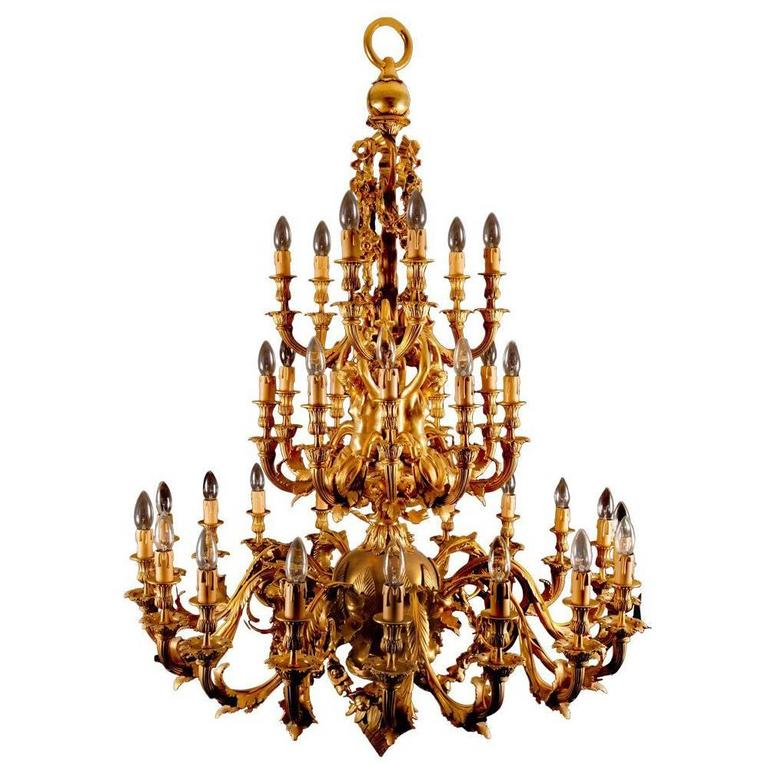 French Rococo style gilt bronze thirty three light gold antique chandelier  For Sale - French Rococo Style Gilt Bronze Thirty Three Light Gold Antique